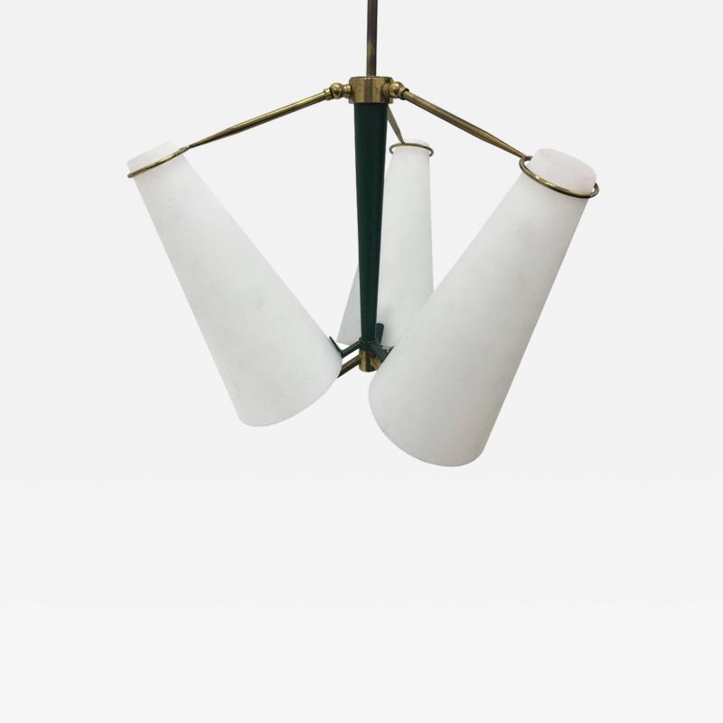 Stilnovo Amazing Mid Century Modern Brass Chandelier Italy 1950