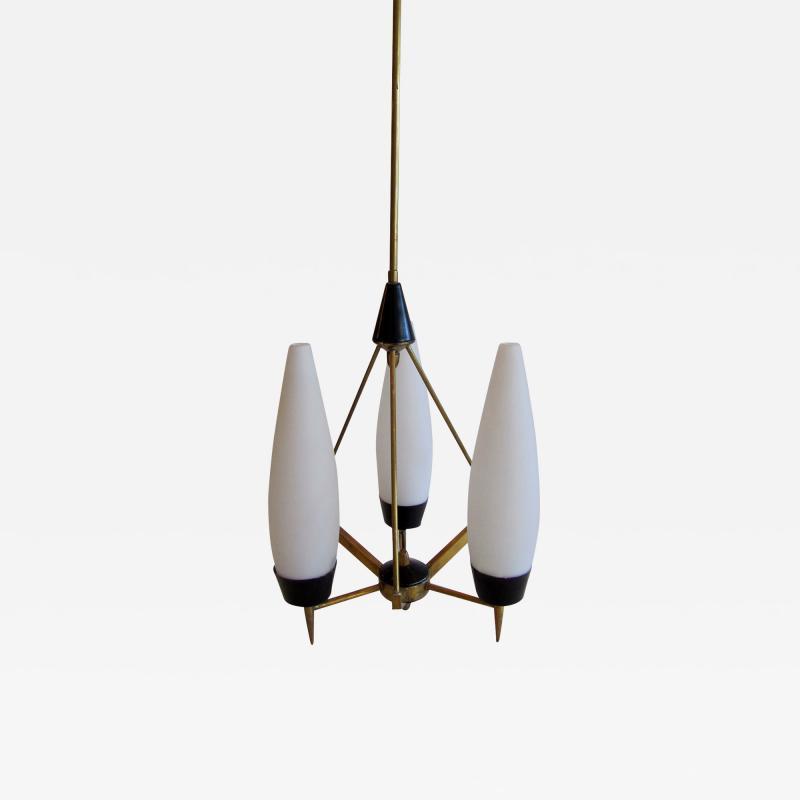 Stilnovo An Italian Modern Brass Glass and Enameled 3 Light Chandelier Stilnovo