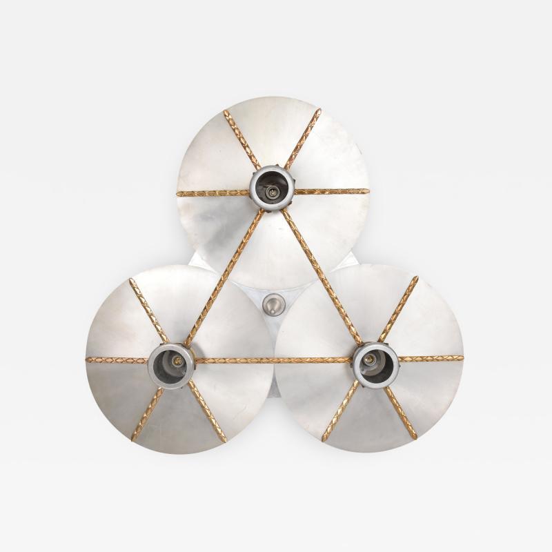 Stilnovo Art DECO Modern Bronze Trinity 3 Light CLUSTER Ceiling Lamp Chandelier 1960s