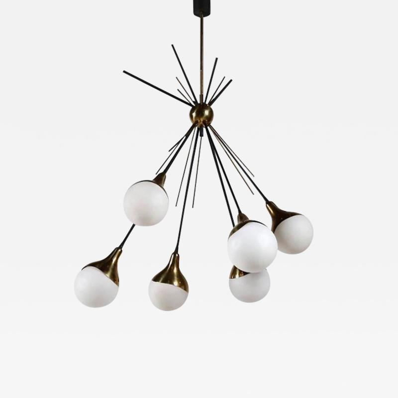Stilnovo Brass Stilnovo Ceiling Lamp with Six Opal Glass Shades
