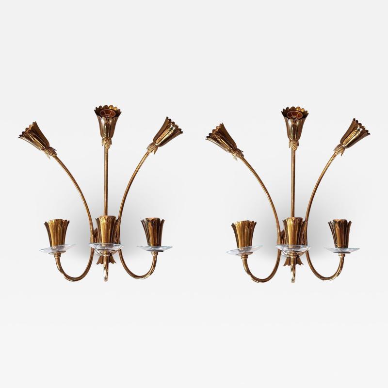 Stilnovo Brass glass mid century modern sconces Stilnovo style a pair