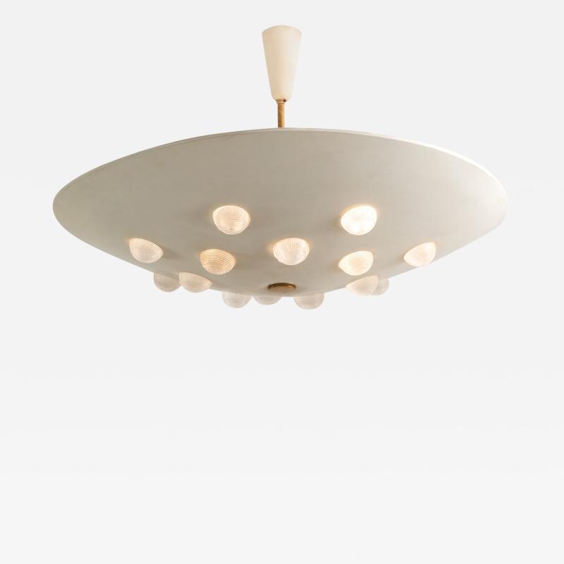 Stilnovo Cream enameled metal ceiling fixture with textured glass lenses by Stilnovo