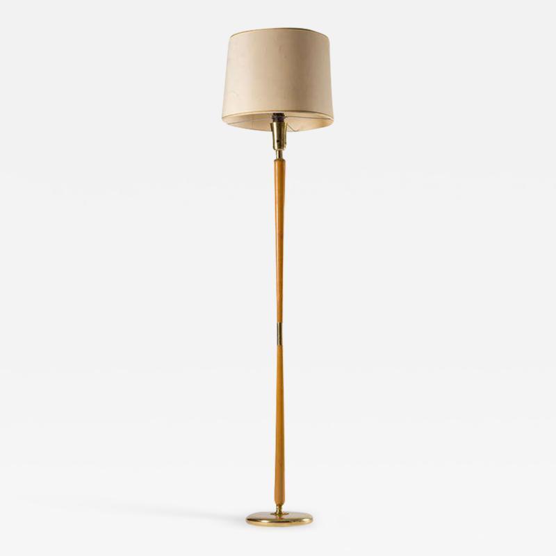 Stilnovo Italian Brass and Wood Floor Lamp