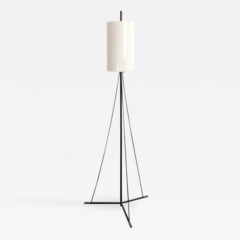 Stilnovo Italian Floor Lamp MidCentury Stilnovo Black and white and brass 1950
