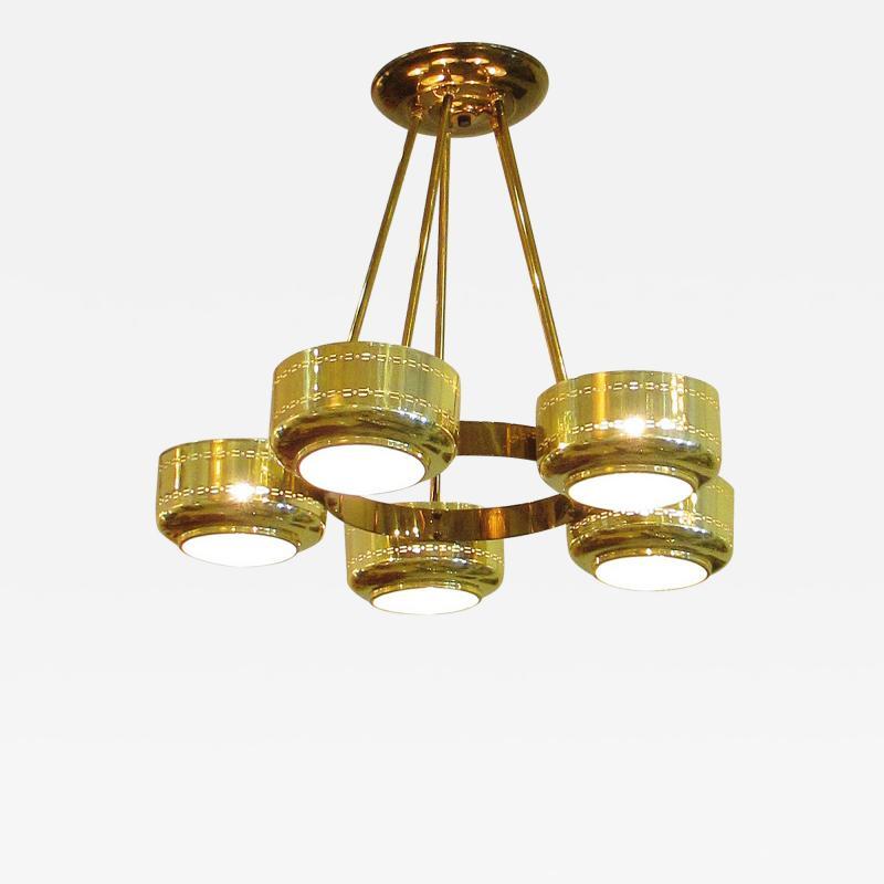 Stilnovo Italian Modern Brass and Bubble Glass Five Light Chandelier