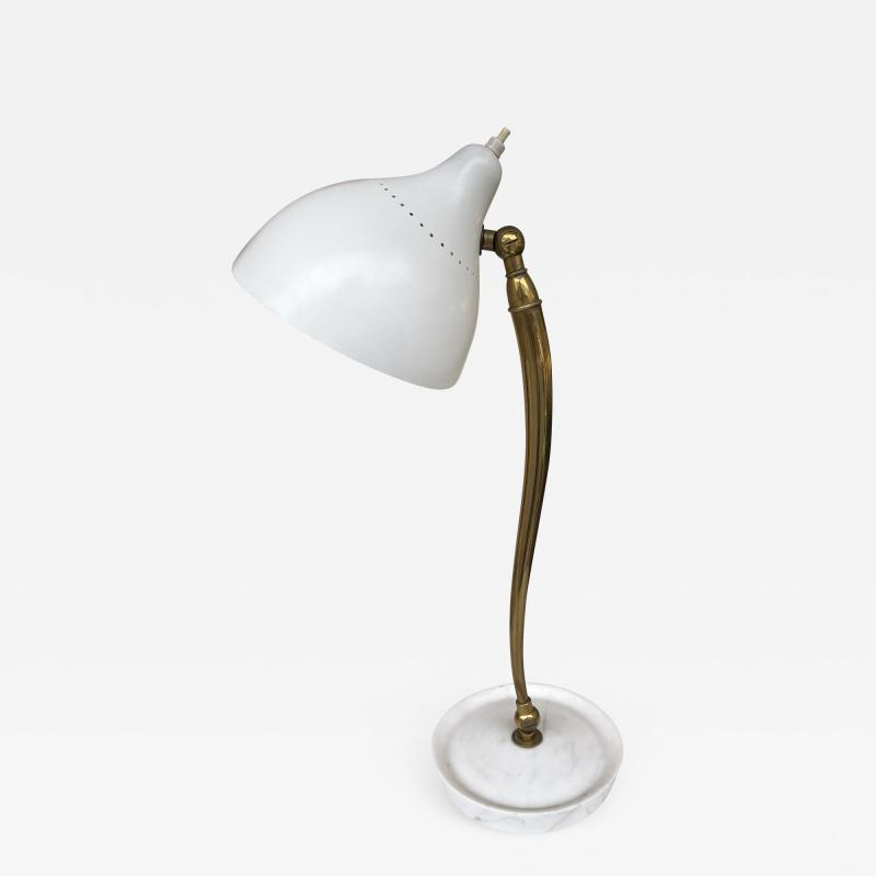 Stilnovo Mid Century Brass and Lacquered Metal Lamp by Stilnovo Italy 1950s