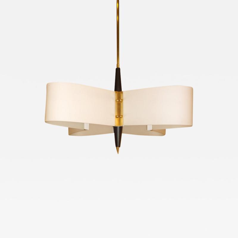Stilnovo Mid Century Modern Italian Stilnovo Style Glass Brass Enameled Metal Chandelier