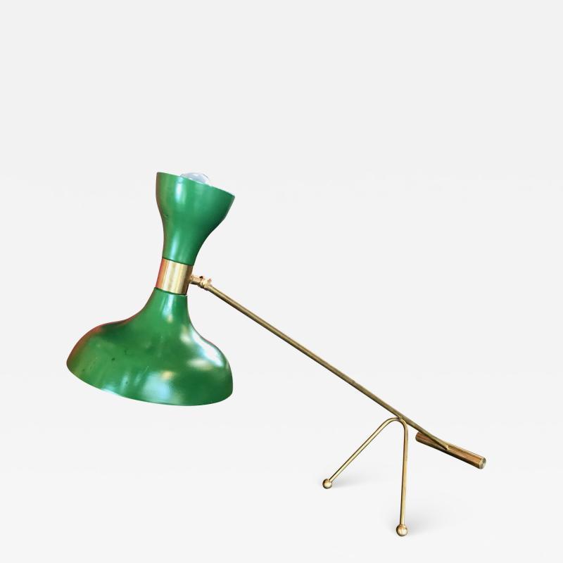 Stilnovo Mid Century Stilnovo Adjustable Green Table Lamp in Brass Italy 1960s