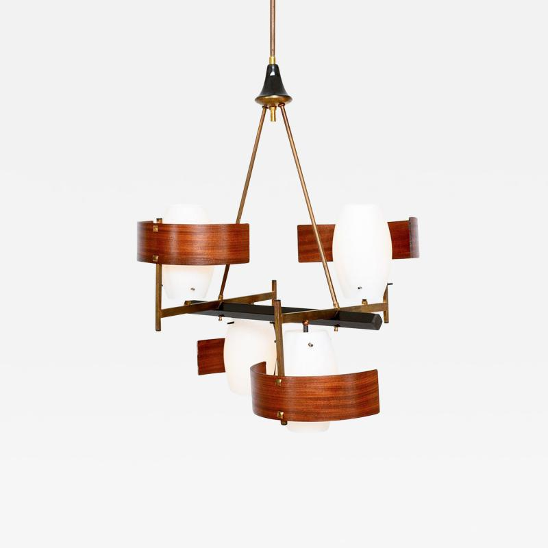 Stilnovo Modern Bentwood Brass Italian Chandelier in the Style of Stilnovo 1960s