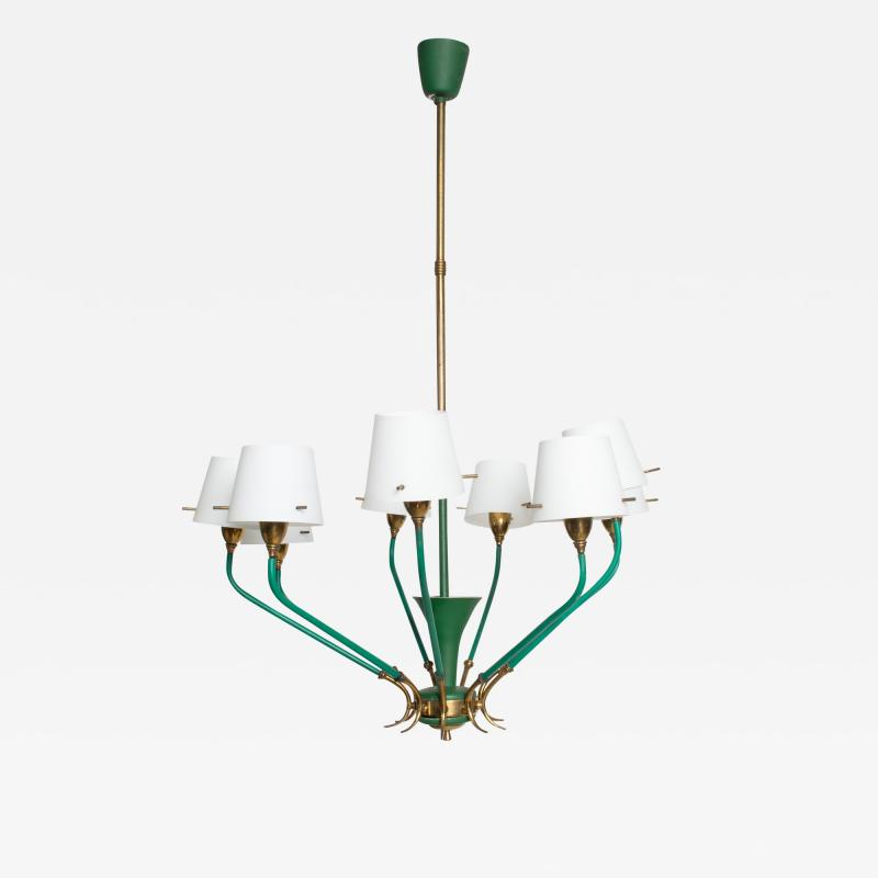 Stilnovo Nine Arm Chandelier Emerald Green Patinated Brass Glass Stilnovo ITALY 1950s