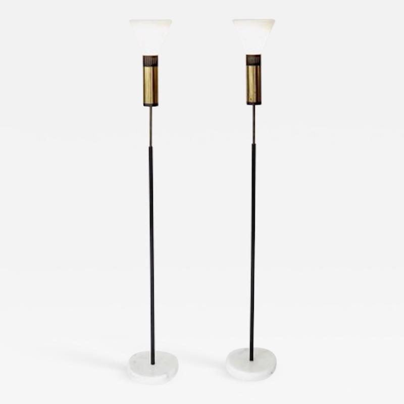 Stilnovo PAIR OF STILNOVO FLOOR LAMPS GLASS DIFFUSERS MARBLE BASE