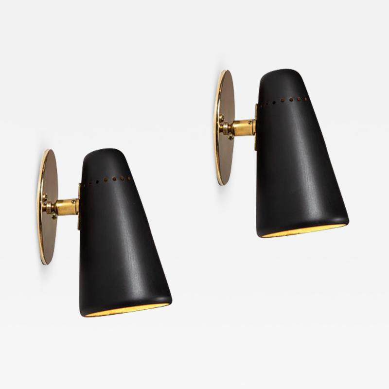 Stilnovo Pair of 1950s Stilnovo Sconces in Black Brass