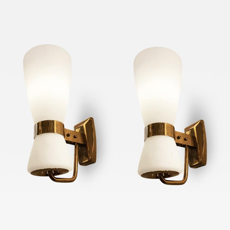 Stilnovo Pair of Large Stilnovo Hour Glass Sconces
