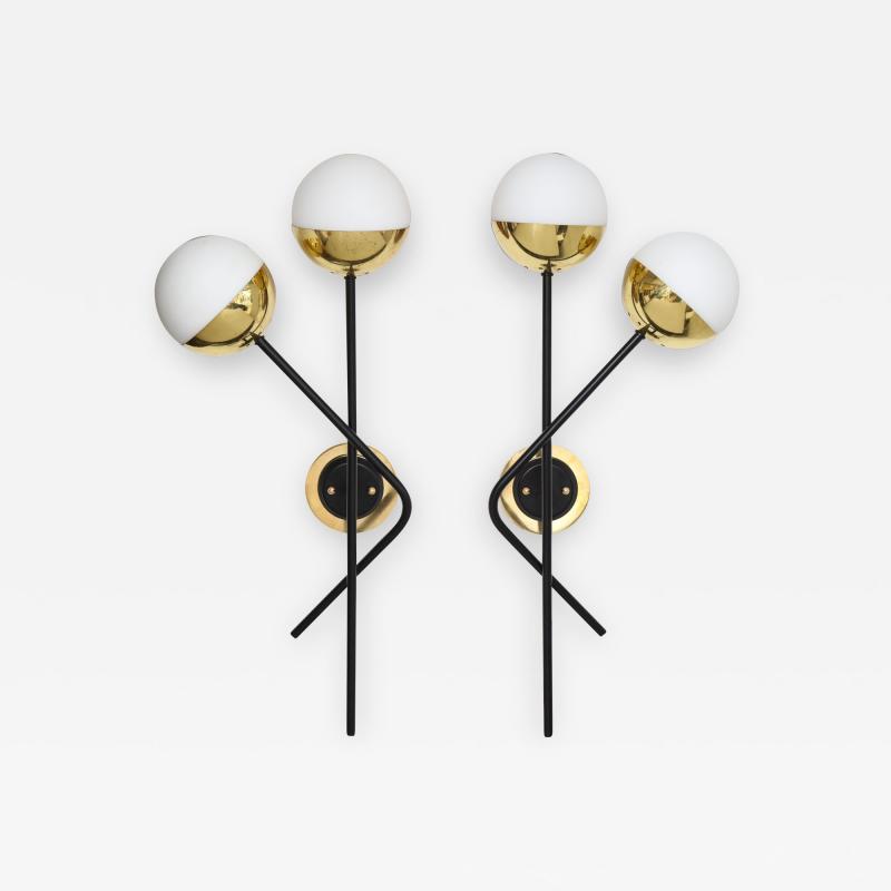Stilnovo Pair of Modernist Brass and Opaque Glass Sconces by Stilnovo