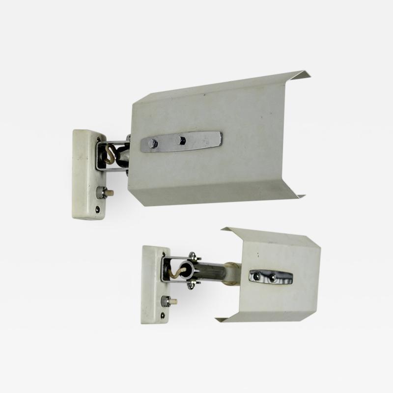 Stilnovo Pair of White Mod 2133 Adjustable Wall Lights