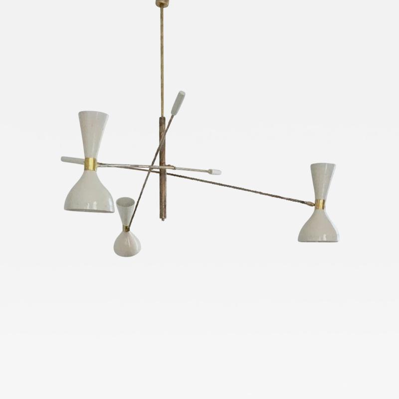 Stilnovo Patinated brass and Ivory Adjustable Three Arm Triennale Style Chandelier