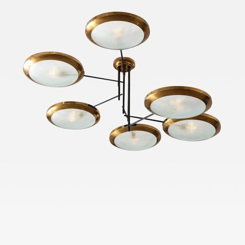 Stilnovo Rare 6 Arm Chandelier by Stilnovo