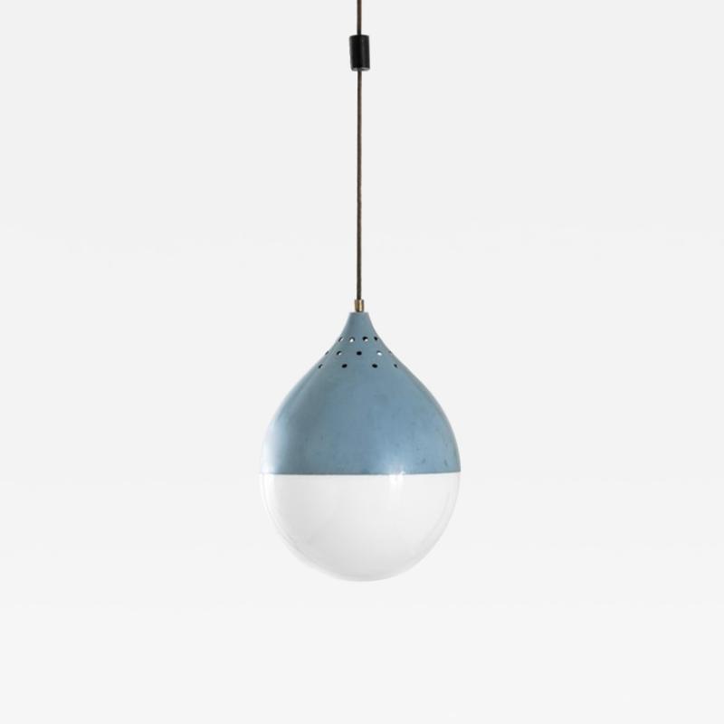 Stilnovo Rare pendant in blue tole by Stilnovo