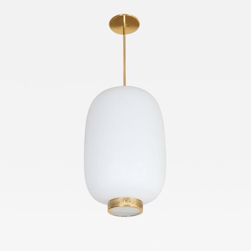 Stilnovo STILNOVO ITALIAN WHITE GLASS LANTERN SHAPE PENDANT LIGHT