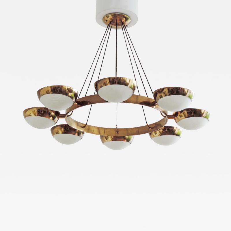 Stilnovo Stilnovo Chandelier in Brass and Glass Italy 1950s