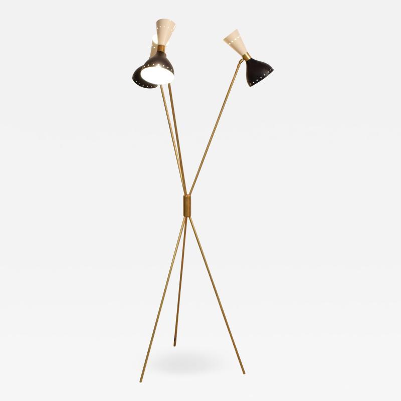 Stilnovo Stilnovo Style Brass Tripod Floor Lamp