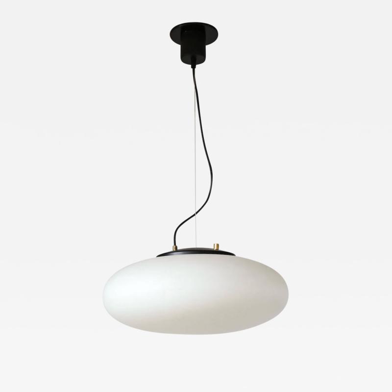 Stilnovo Stilnovo White Glass Suspension Light UFO Chandelier Italy c 1950 60 s