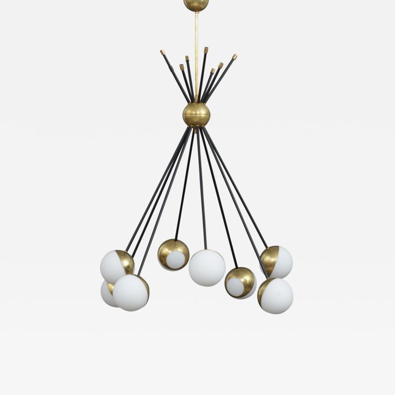 Stilnovo Stilnovo style Italian brass chandelier
