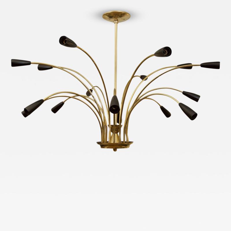 Stilnovo Stunning Black Enamel and Brass Stilnovo Style Chandelier