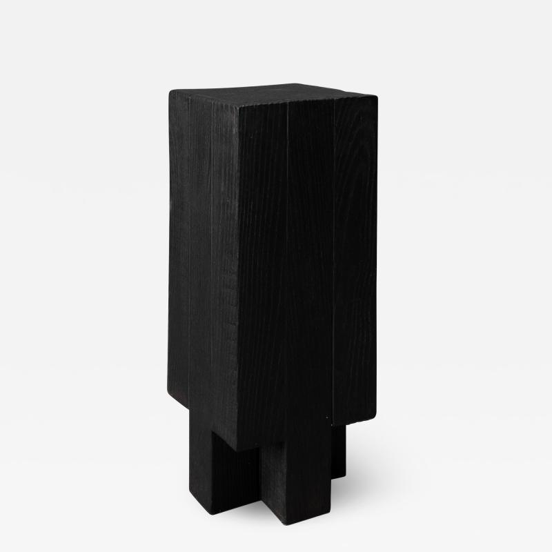 Studio Arno Declercq Arno Declercq Black Iroko Wood and Burned Steel Cross Stool or Side Table