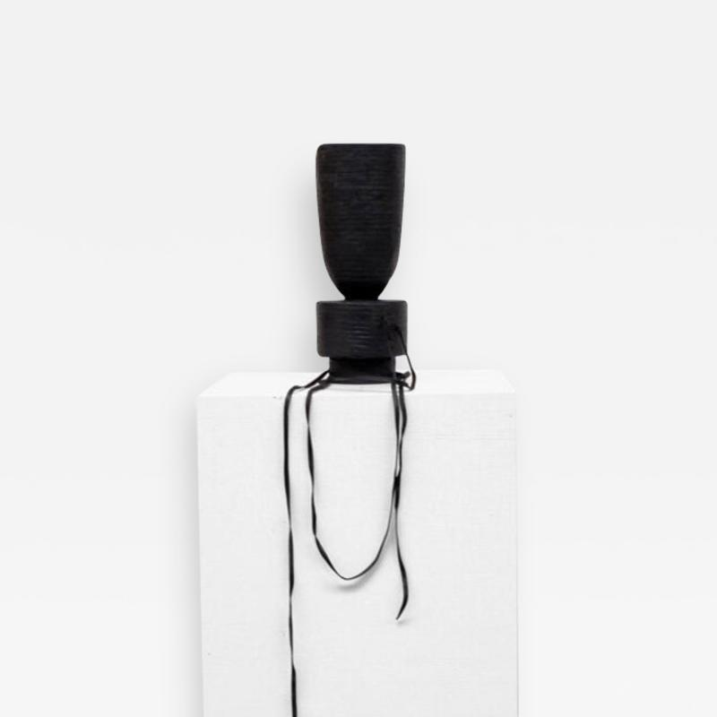 Studio Arno Declercq Pot Vase Leather in Iroko Wood by Arno Declercq