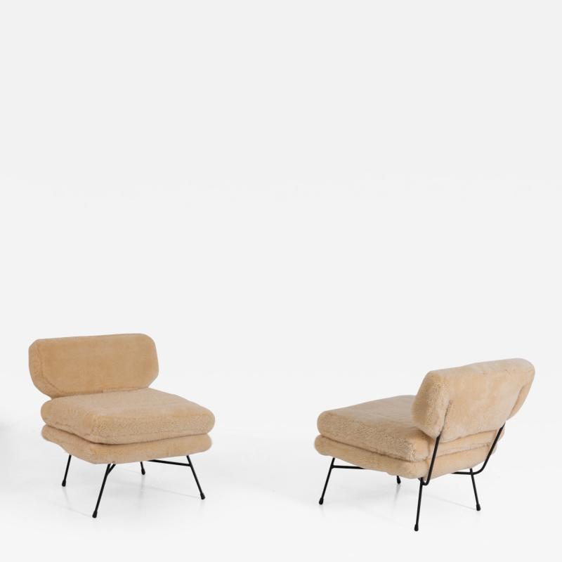 Studio BBPR BBPR Pair of armchairs Elettra for Arflex in Italian sheep hair