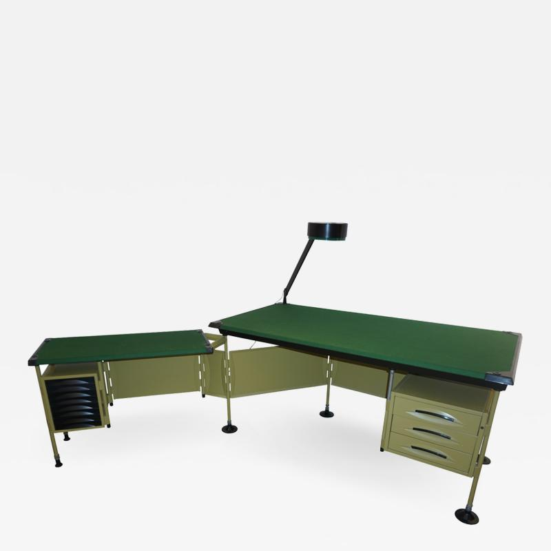 Studio BBPR BBPR for Olivetti 1960 Green Modernist Desk with Black Accents and Side Bureau