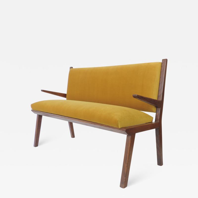 Studio BBPR Italian 1940s Bench in Wood and Yellow Velvet Upholstery Att to Studio BBPR