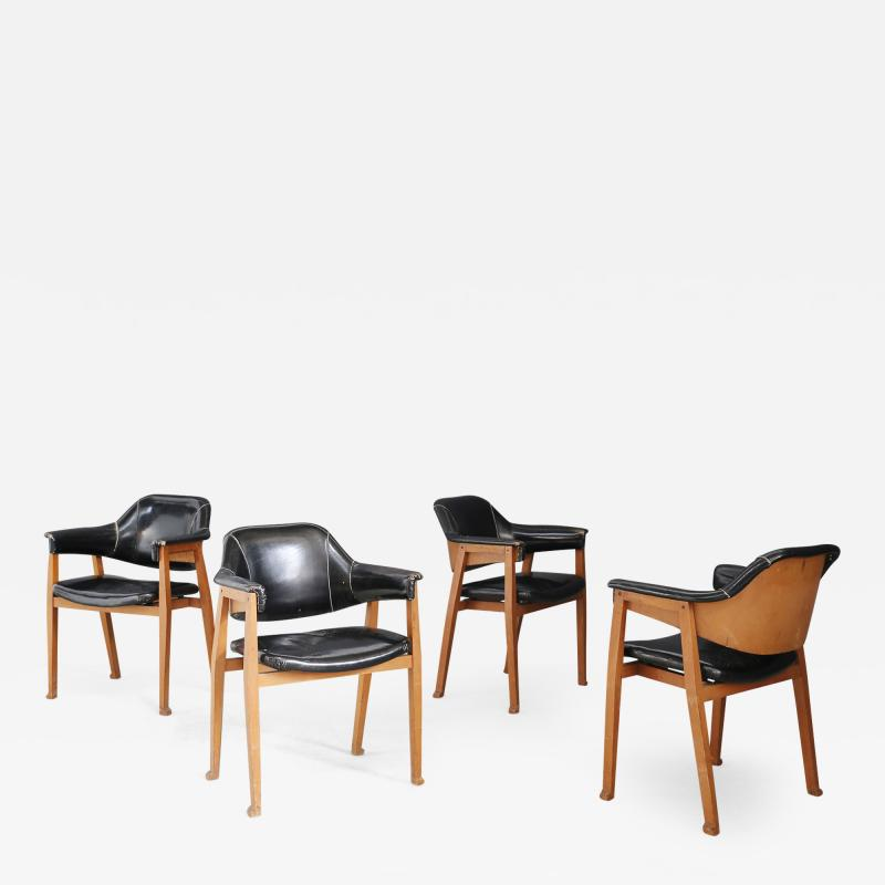 Studio BBPR Set of Four Chair Attributed to BBPR in Wood and Black Leather 1950s