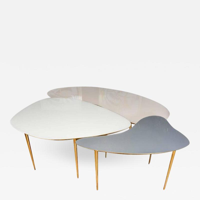 Studio Glustin Set of Three Mirror Top Tables by Studio Glustin