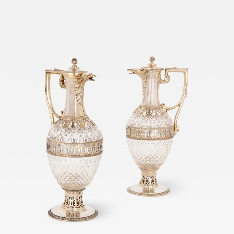 T tard Fr res Two silver mounted cut glass claret jugs by T tard Fr res