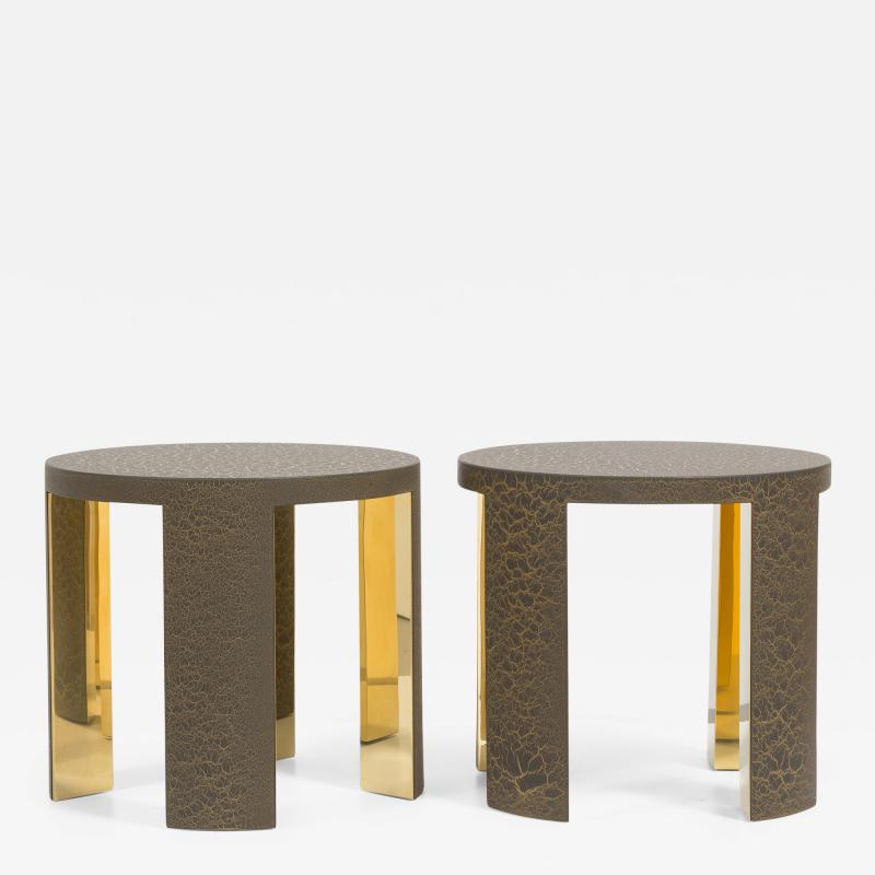 Talisman Bespoke The Circular Crackle Side Tables by Talisman Bespoke Bronze and Gold