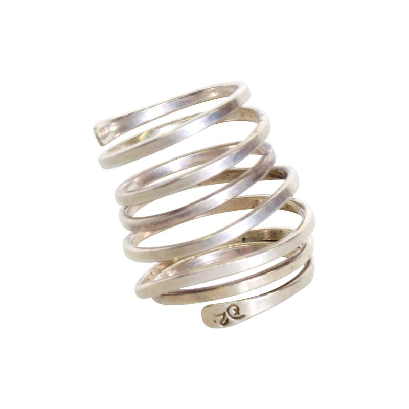 Taxco Taxco Sterling Silver Coiled Spiral Wrap Ring 1970s Mexican Modernism