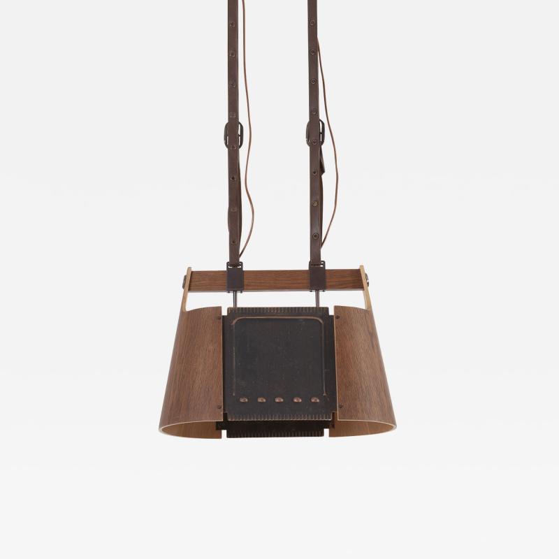 Temde Leuchten Rare Temde Pendant Lamp in plywood leather and metal Switzerland 1950s