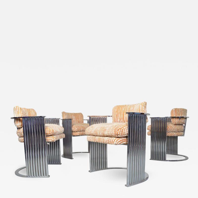 Thayer Coggin Exceptional Set of 4 Milo Baughman for Thayer Coggin Chrome Barrel Dining Chairs