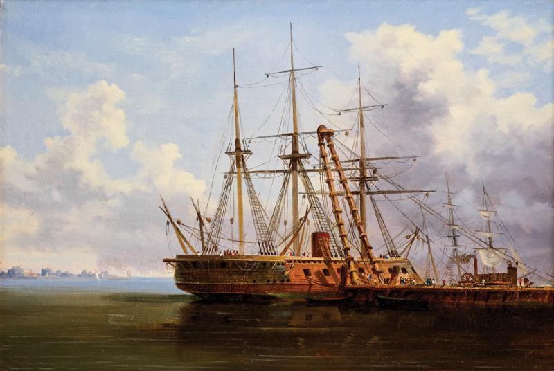 Thistlethwaite Americana Xanthus Russell Smith New Ironsides at the Philadelphia Navy Yard c 1863