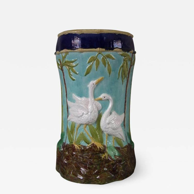 Thomas Forester Sons Forester Majolica Stork and Bamboo Garden Seat