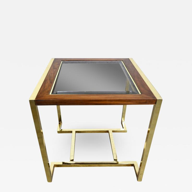 Thomasville Furniture Modern brass plated dark wood smoked glass rectangle end table