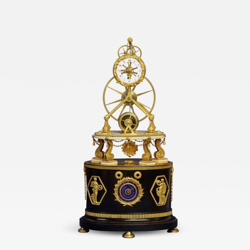 Thwaites c 1800 French Quarter Chiming Marble Ormolu and Ebonized Skeleton Clock