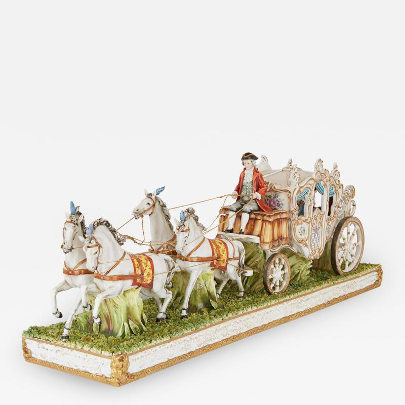 Tiche Italian Tiche porcelain horse and carriage group