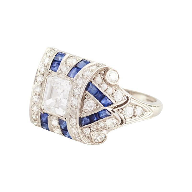 Tiffany Co Art Deco Tiffany Co Sapphire and Asher Cut Diamond Ring