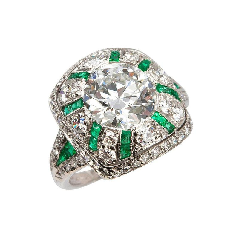 Tiffany Co Old European Cut Diamond Ring with Emeralds
