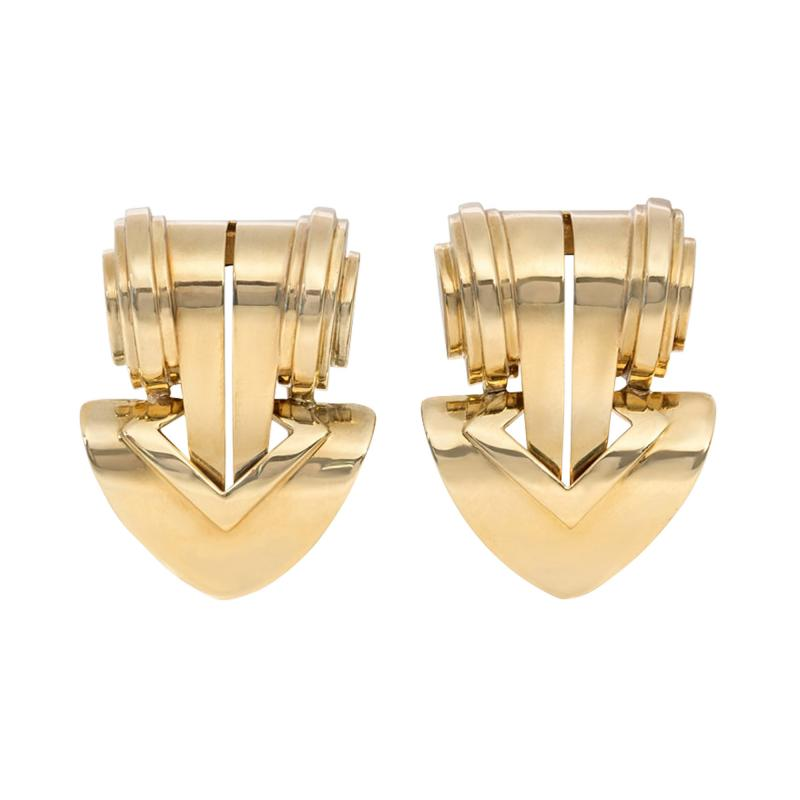 Tiffany Co Pair of Retro Tiffany Co Gold Clip Brooches of Geometric Design