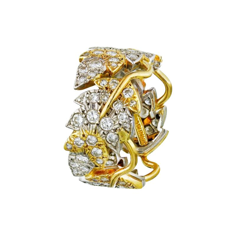 Tiffany Co SCHLUMBERGER PLATINUM 18K YELLOW GOLD FLORAL DIAMOND WEDDING BAND