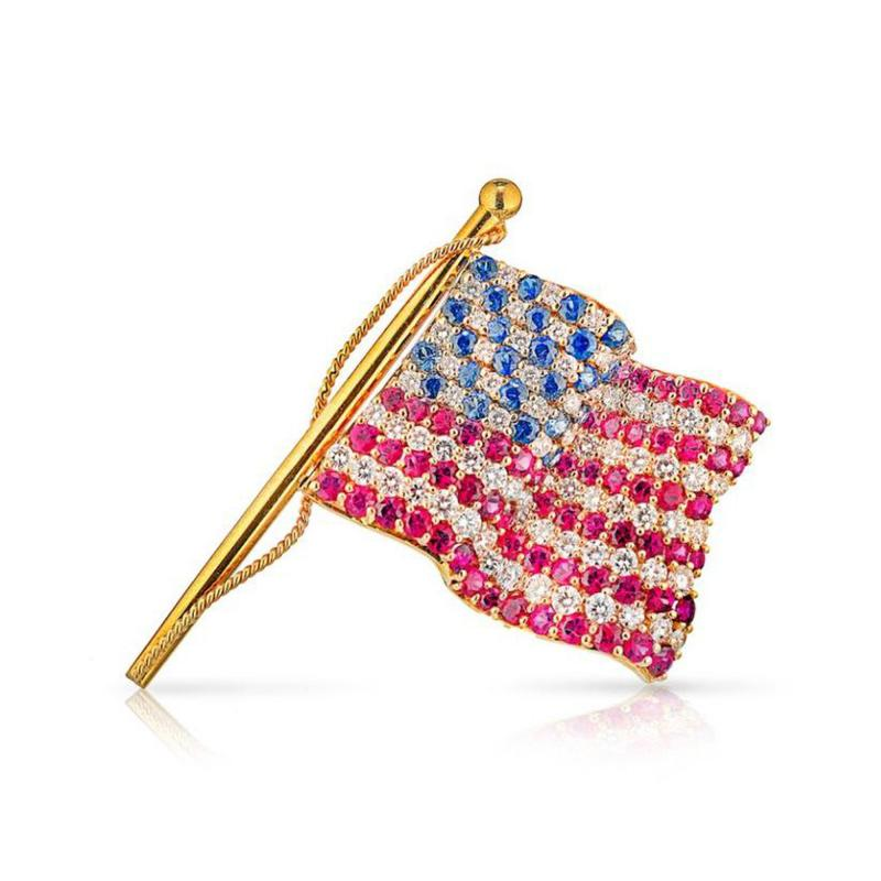 Tiffany Co TIFFANY CO 18K GOLD AMERICAN FLAG WITH DIAMONDS RUBIES SAPPHIRES BROOCH